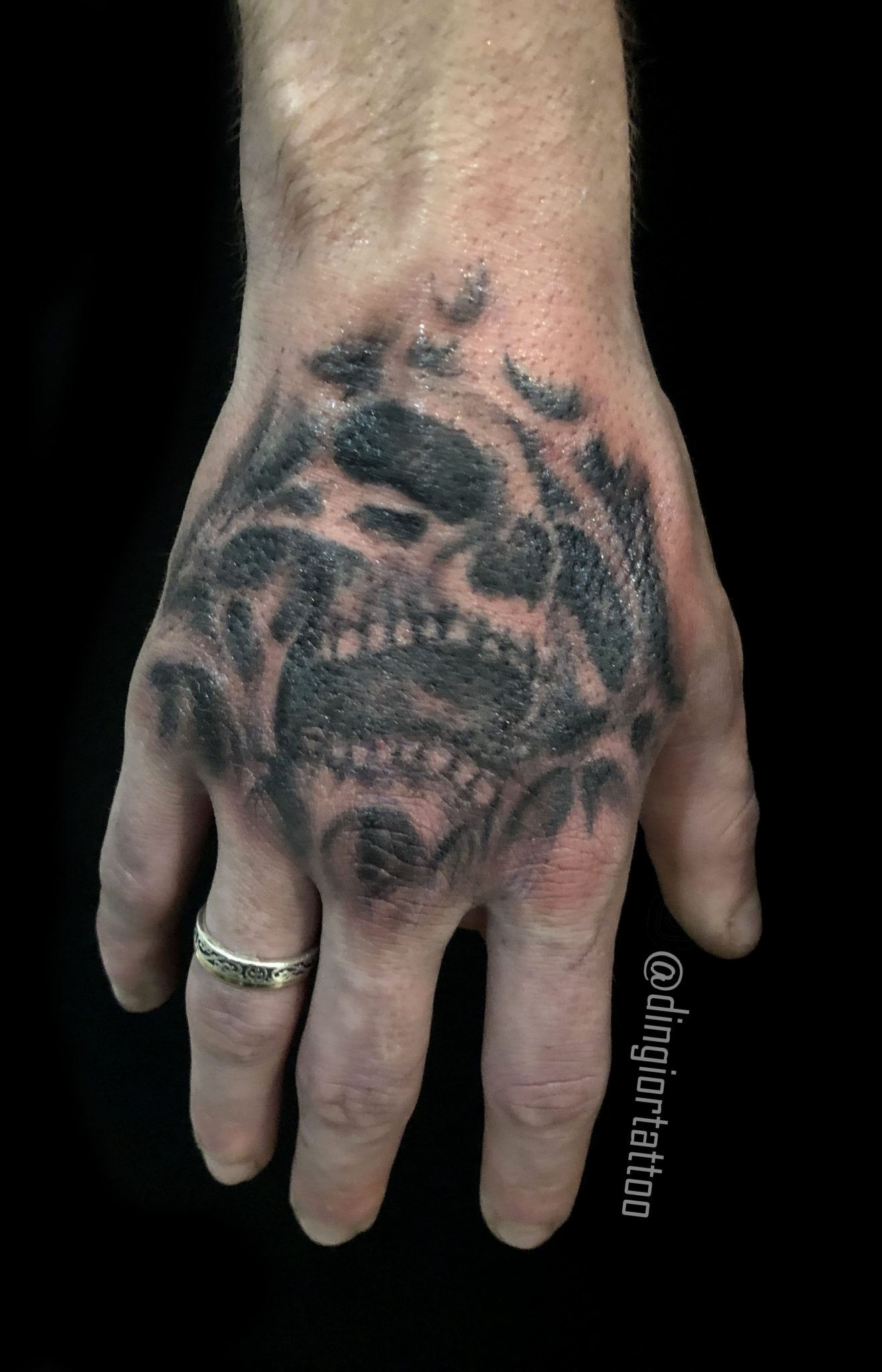 Skull Palm Tattoo Blackwork