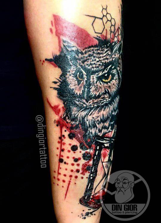 Owl Trasch-Polka Tattoo