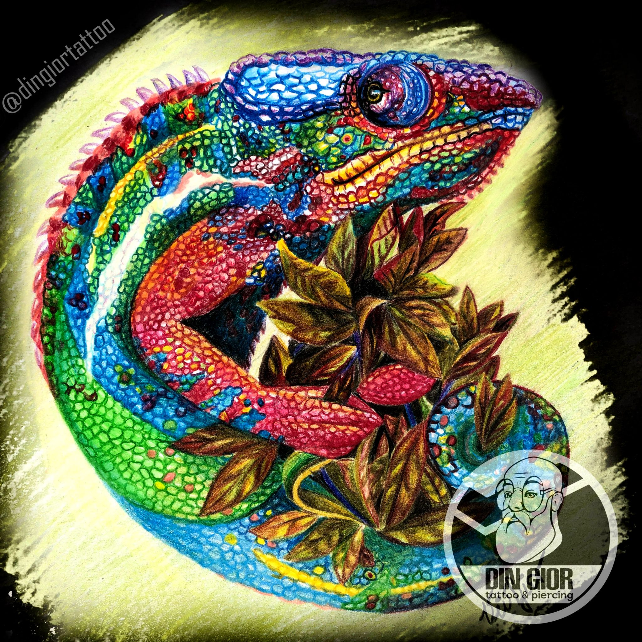 Color Sketch Chameleon Tattoo