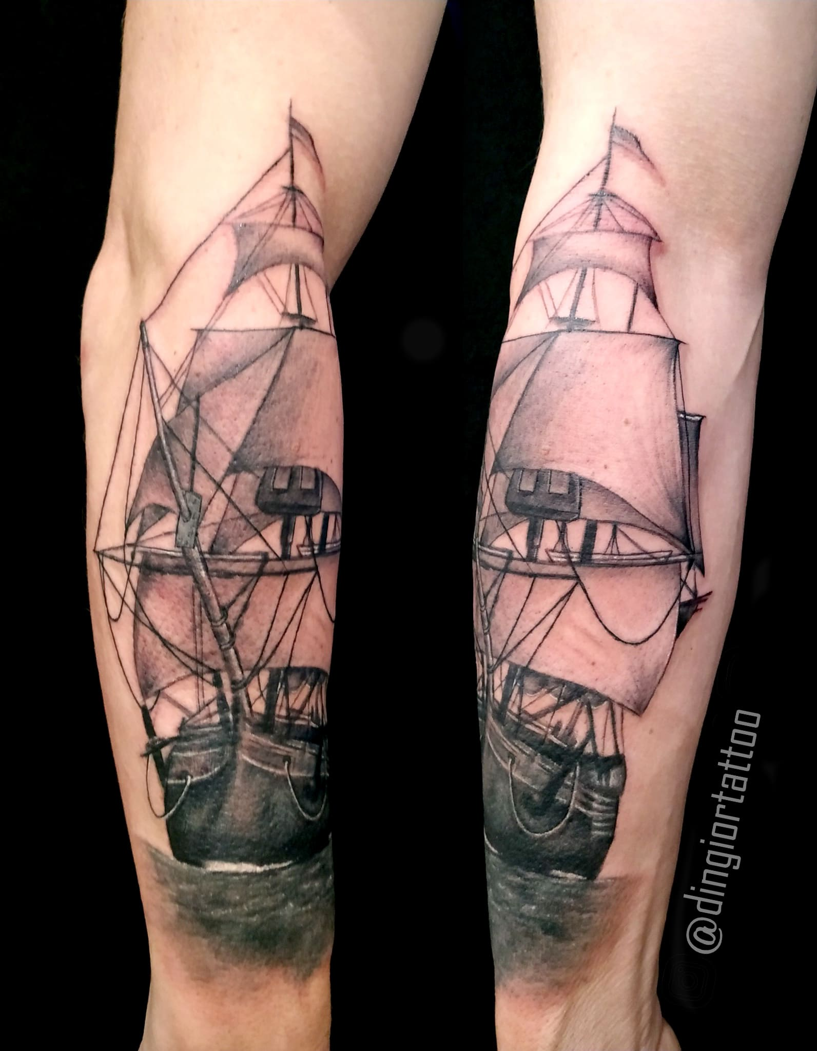 Realism or Realistic Tattoos Ship Tattoo