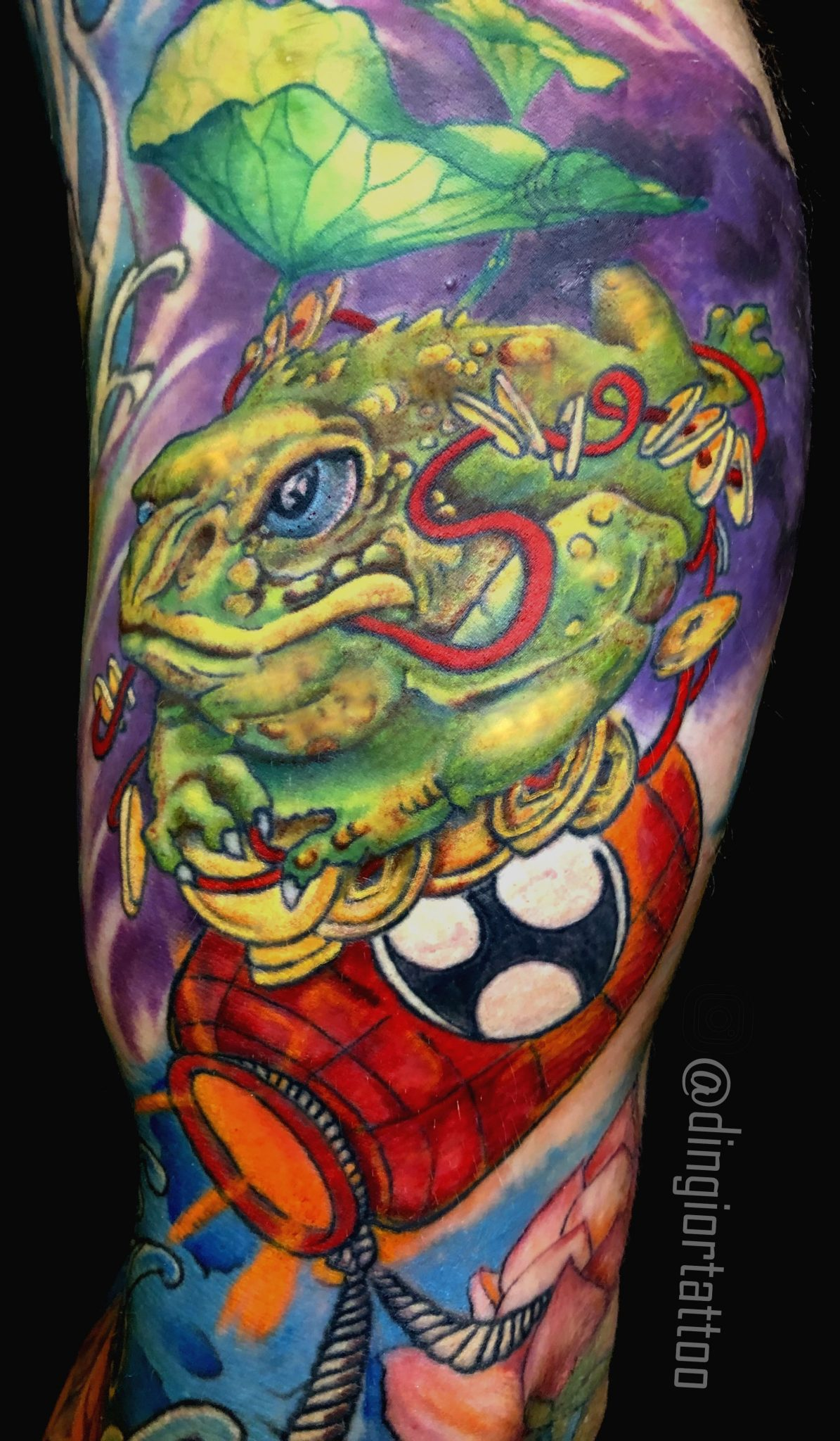 Color Tribal Frog Tattoo (Neotraditional)