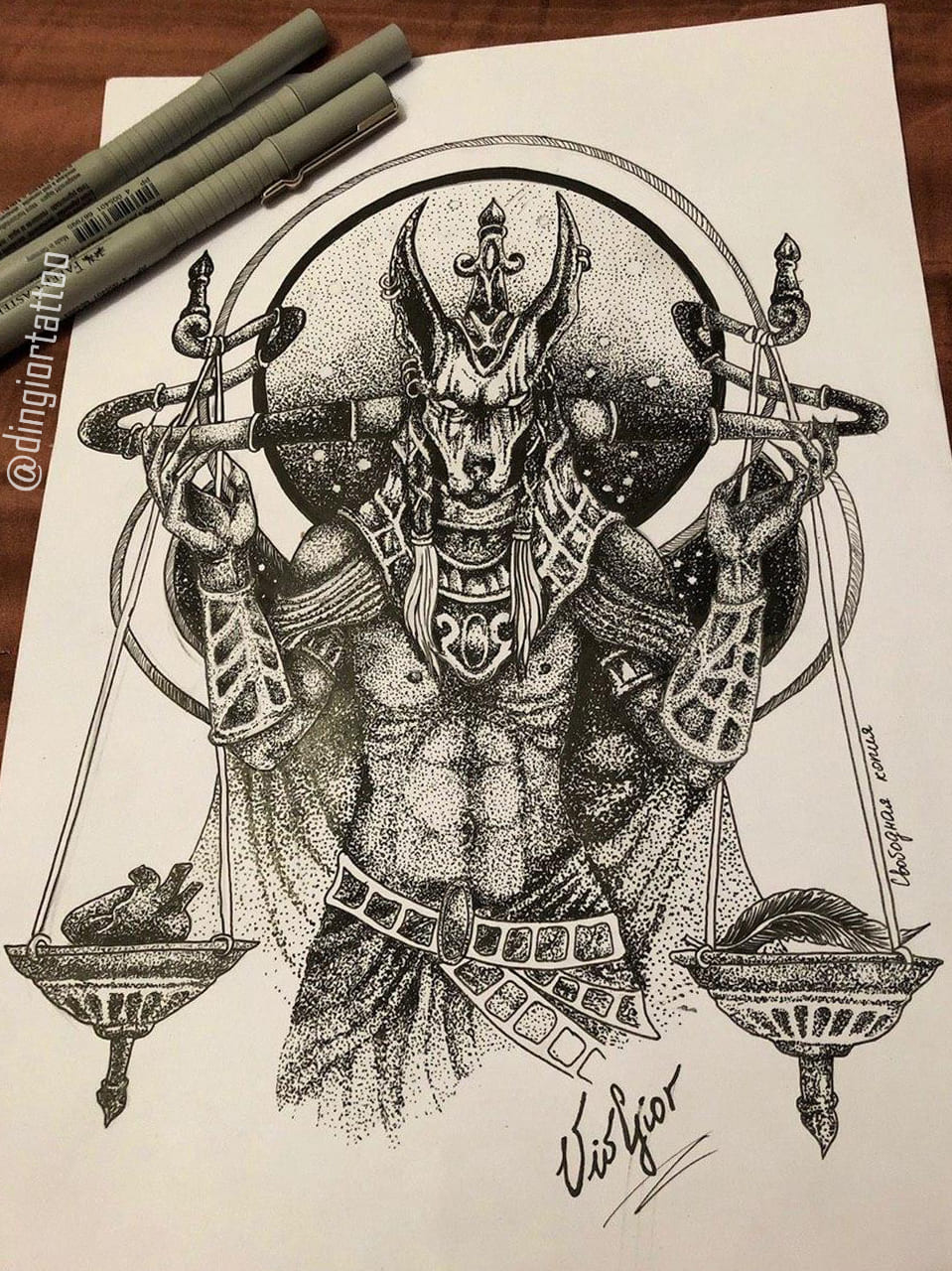 Sketch Tattoo Tutankhamun (Dotwork)
