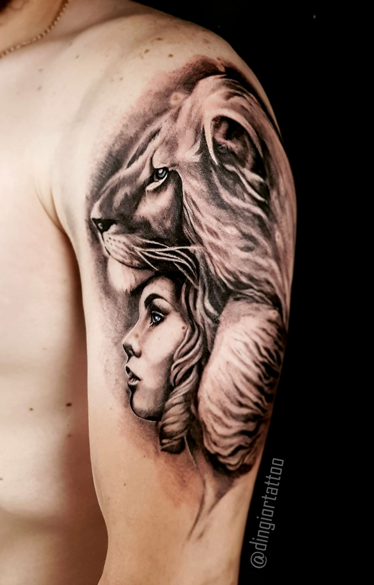 Realism or Realistic Tattoos Girl or Lion