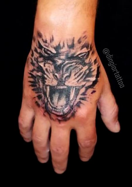 Tiger Palm Tattoo Blackwork