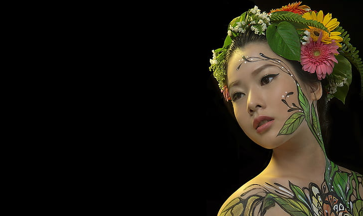 girl-portrait-asian-body-art-wallpaper-preview
